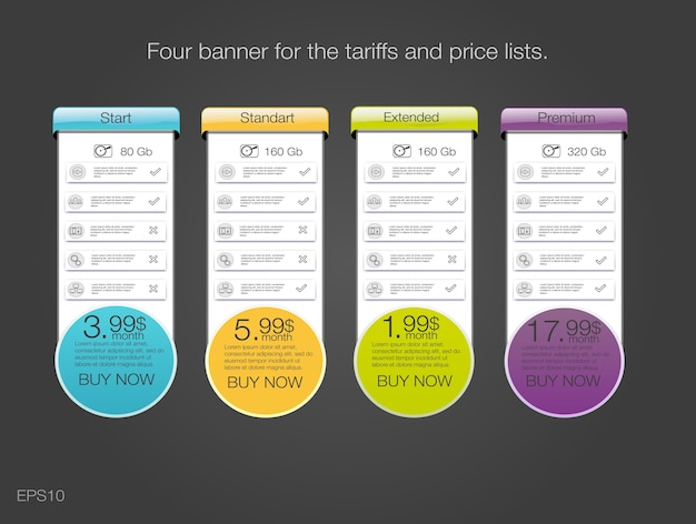 Quattro banner per le tariffe e listini prezzi. elementi web. pianifica l'hosting.