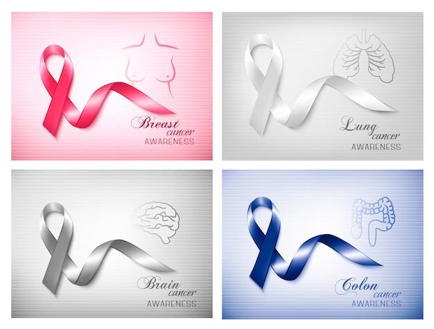 Quattro striscioni con diversi nastri di consapevolezza del cancro. .