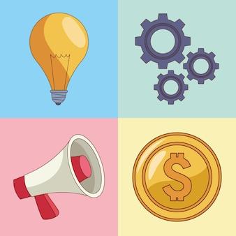 Insieme di quattro elementi di affari Vettore Premium