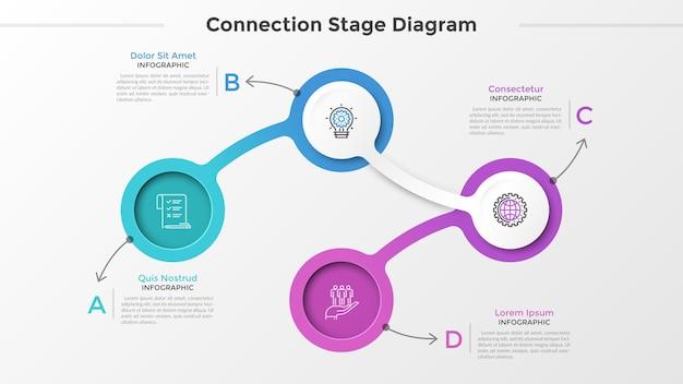 Quattro elementi circolari o collegamenti con simboli di linee sottili all'interno collegati in catena e posizionati per il testo. schema di collegamento con 4 passaggi. modello di progettazione infografica. illustrazione di vettore per la presentazione.