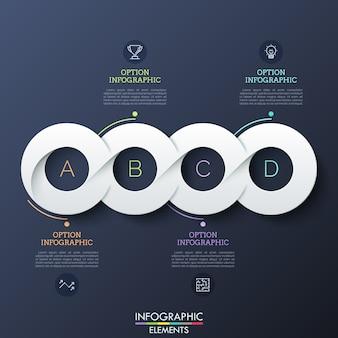 Quattro elementi bianchi di carta circolare collegati successivamente in linea orizzontale, pittogrammi e caselle di testo. modello di progettazione infografica realistica.