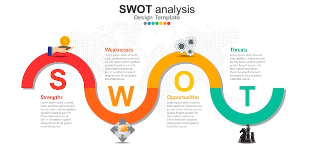 Quattro elementi colorati con icone per l'analisi swot