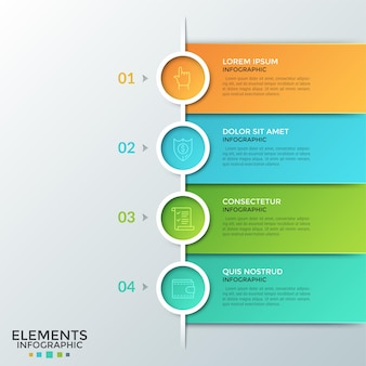 Quattro elementi rotondi colorati con pittogrammi lineari all'interno, numeri e caselle di testo posizionati uno sotto l'altro. concetto di lista o business plan in 4 fasi. layout di progettazione infografica.