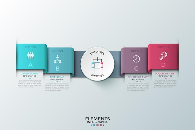 Quattro elementi colorati a strisce o nastri con lettere e pittogrammi piatti all'interno, cerchio bianco di carta al centro e caselle di testo. modello di progettazione infografica moderna. illustrazione di vettore per la presentazione.