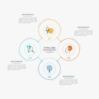 Quattro elementi rotondi collegati con icone e numeri sottili all'interno, caselle di testo. processo aziendale ciclico chiuso con 4 passaggi. modello di progettazione infografica semplice. illustrazione di vettore per l'opuscolo.