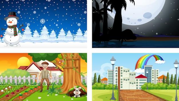 Quattro scene orizzontali di natura diversa