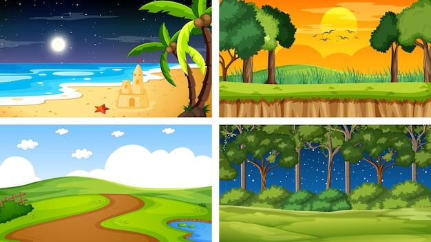 Quattro diverse scene del parco naturale e della foresta