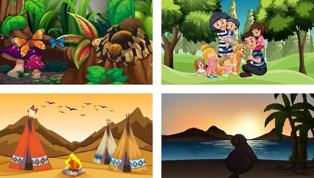 Quattro scene diverse con il personaggio dei cartoni animati per bambini