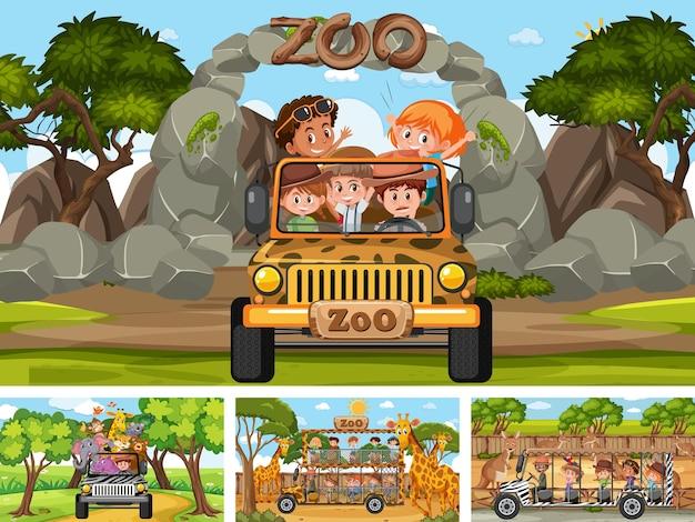 Quattro diverse scene dello zoo con bambini e animali