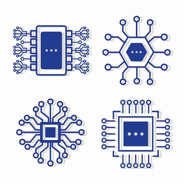Quattro icone di circuiti elettronici