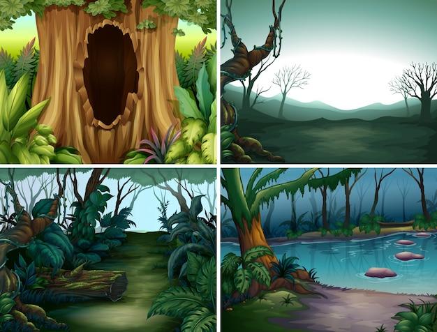 Quattro scene forestali con alberi e fiume