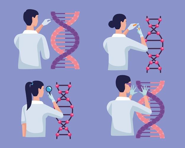 Quattro icone di test genetici
