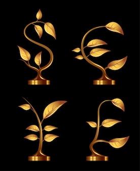 Quattro piantine d'oro sotto forma di simboli di valuta