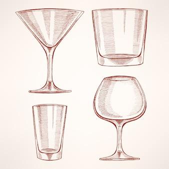 Quattro bicchieri di alcol disegnati a mano