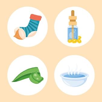 Quattro icone di set di rimedi casalinghi