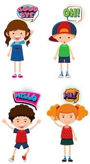 Quattro bambini con espressioni diverse Vettore Premium