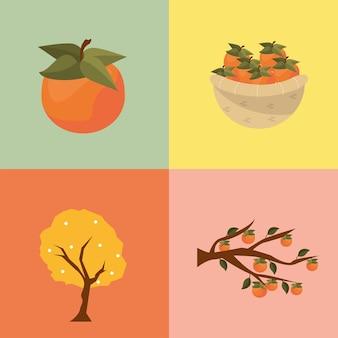 Quattro icone chuseok coreane