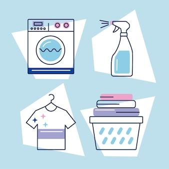 Quattro icone del set di servizi di lavanderia