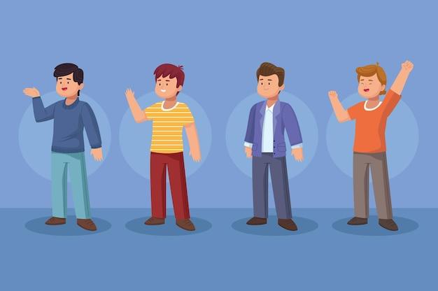 Gruppo di quattro uomini