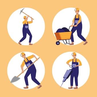 Quattro personaggi minatori industria mineraria
