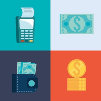 Quattro icone di transazione mobile