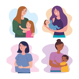 Set di caratteri di quattro madri e bambini