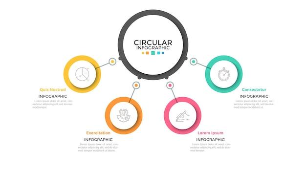Quattro cerchi multicolori collegati con l'elemento rotondo principale al centro, 4 caratteristiche del concetto di processo aziendale. modello di progettazione infografica minimalista. illustrazione vettoriale per presentazione, sito web.