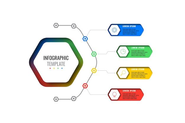 Modello di infografica layout design quattro opzioni con elementi esagonali. diagramma del processo aziendale per brochure, banner, relazione annuale e presentazione