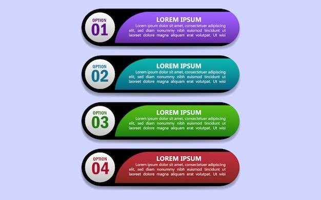 Progettazione di vettore di infographics di quattro opzioni
