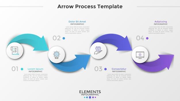 Quattro elementi circolari di carta bianca con pittogrammi lineari all'interno, numeri e caselle di testo collegati da frecce colorate. concetto di processo in 4 fasi. modello di progettazione infografica. illustrazione vettoriale.