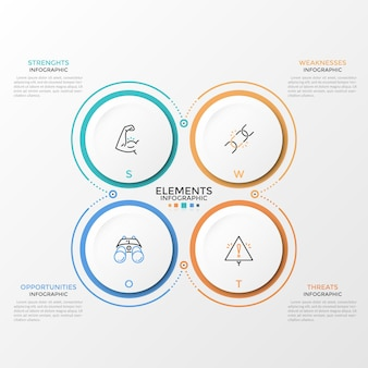 Quattro elementi circolari di carta bianca con pittogrammi lineari all'interno e posto per testo o descrizione. concetto di analisi swot per startup. modello di progettazione infografica. illustrazione vettoriale. Vettore Premium