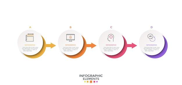 Quattro elementi rotondi di carta bianca disposti in fila orizzontale e collegati da frecce. layout di progettazione infografica creativa. illustrazione vettoriale per la visualizzazione del processo aziendale con 4 passaggi successivi.