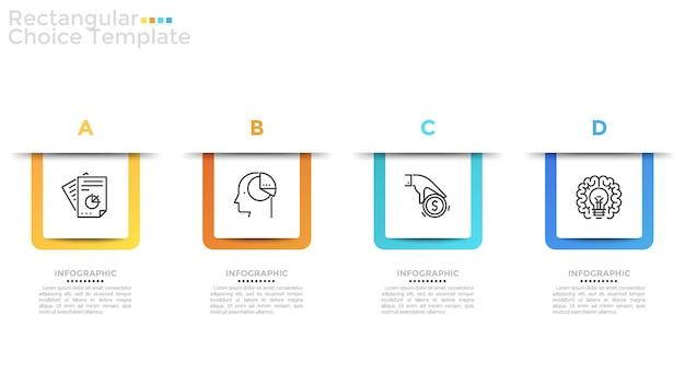 Quattro elementi quadrati di carta bianca con pittogrammi di linee sottili all'interno, lettere disposte in ordine alfabetico e posto per il testo. layout di progettazione infografica. illustrazione vettoriale per sito web, banner.