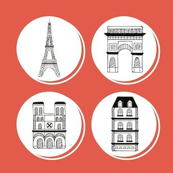 Quattro icone del paese di parigi
