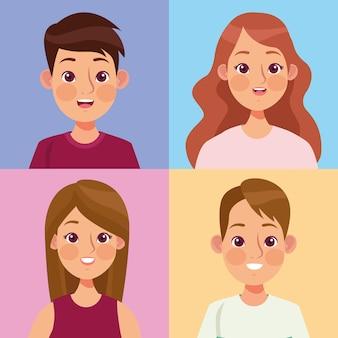 Personaggi di quattro persone
