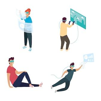 Quattro persone che utilizzano il disegno dell'illustrazione delle maschere di realtà virtuale