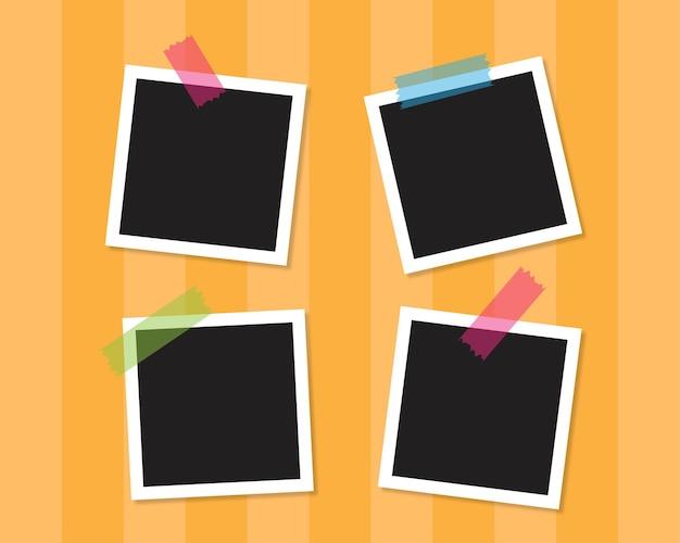 Quattro cornici per foto sono attaccate al muro con sfondo vettoriale di concetto di nastro colorato.