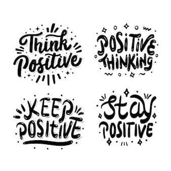 Quattro illustrazioni di set di lettere positive