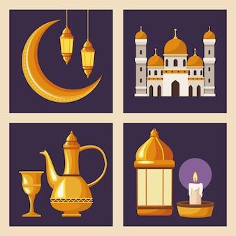 Quattro elementi di ramadan kareem