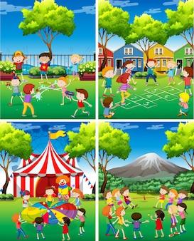 Quattro scena di bambini che giocano nel parco