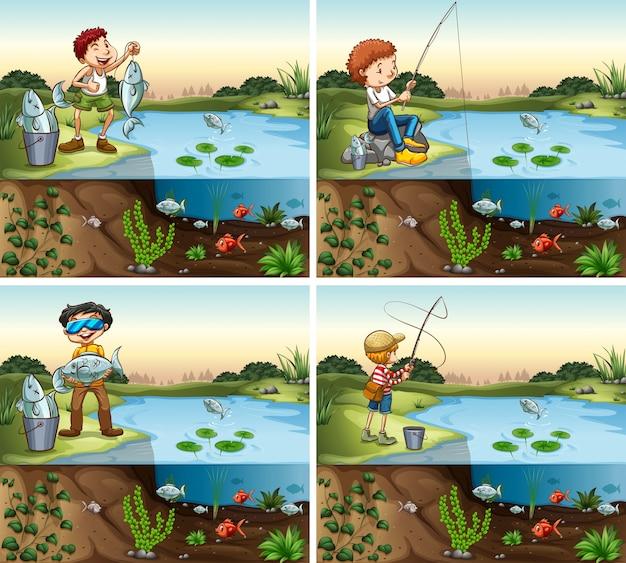 Quattro scene di pesca di ragazzo nello stagno