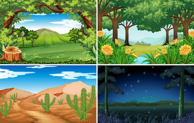 Quattro scene di foresta e deserto
