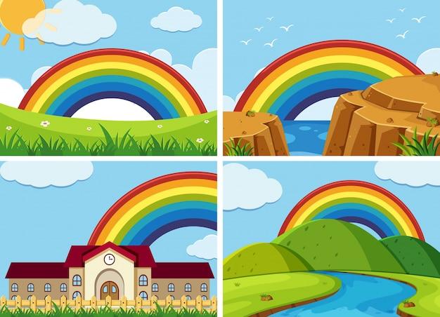 Quattro scene con arcobaleno nel cielo