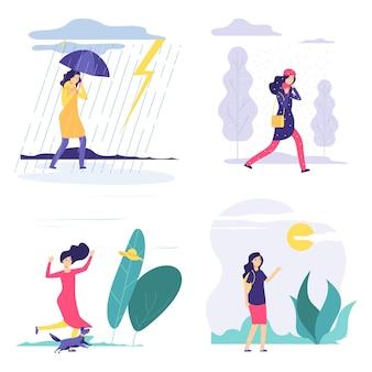 Quattro stagioni. illustrazione del tempo vario della donna. vector autunno estate inverno primavera concetto con ragazza piatta. quarta stagione, ragazza sotto la pioggia o la neve