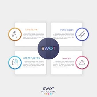 Quattro elementi bianchi di carta rettangolari separati con posto per il testo all'interno e simboli di linea sottile. concetto di analisi swot. modello di progettazione infografica pulito. illustrazione di vettore per la presentazione.