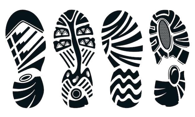 Quattro sagome di scarpe da corsa sportive