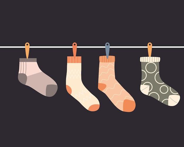 Quattro calzini appesi design, abbigliamento stile moda panno e illustrazione del tema del negozio