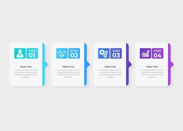 Disegno del modello di infografica timeline passo colorato realistico a quattro fasi gradiente