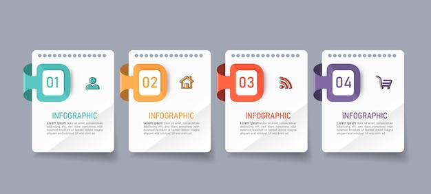 Infographics di affari di quattro passaggi Vettore Premium