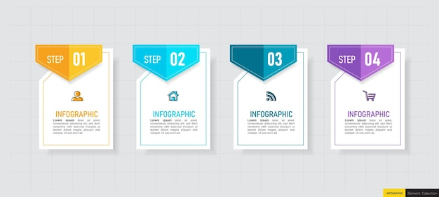Infographics di affari di quattro passaggi